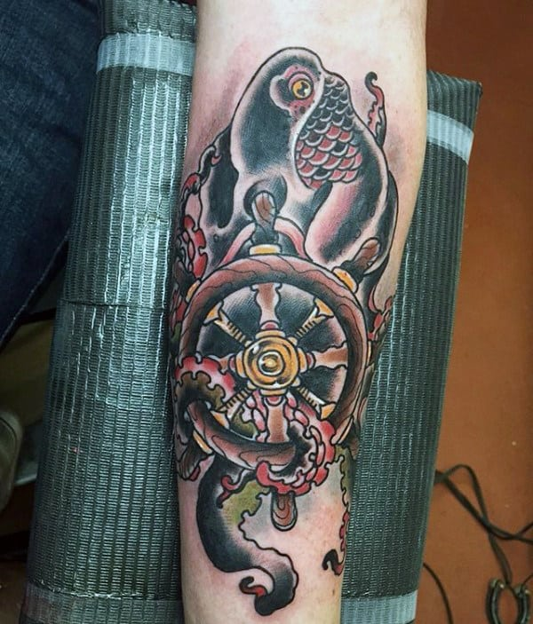 Traditional Octopus With Ship Wheel Mens Inner Forearm Tattoos