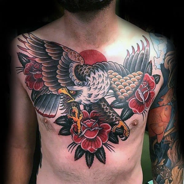 Traditional Old School Bald Eagle With Red Rose Flower Great Chest Tattoos For Men