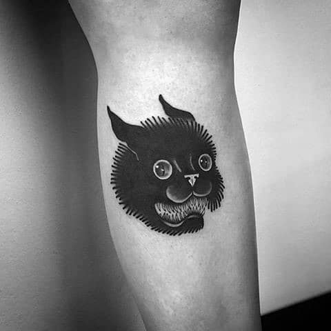 Traditional Old School Black Cat Tattoo Inspiration For Men