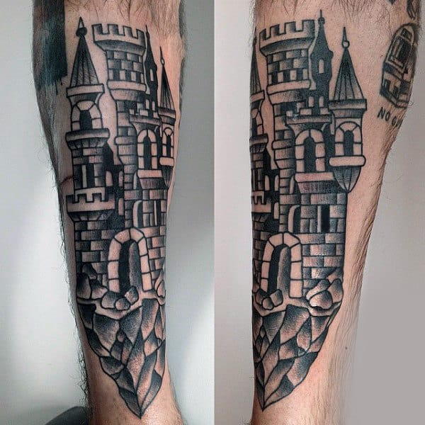 Traditional Old School Castle Tattoo On Forearm Of Gentleman