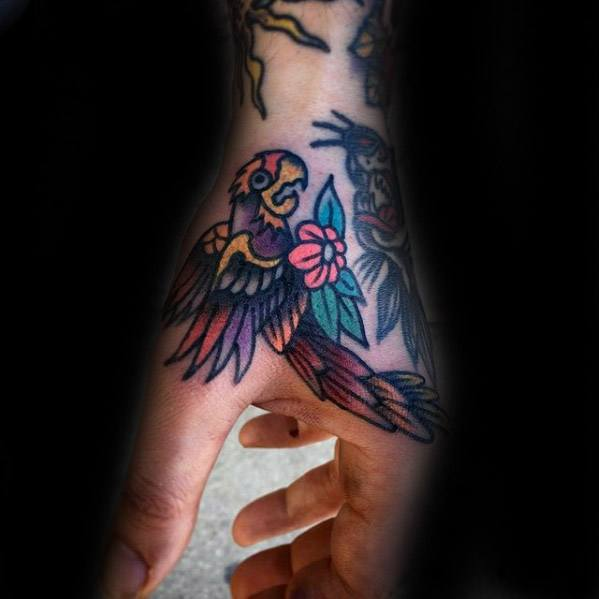 Traditional Old School Guys Parrot Tattoo On Hand