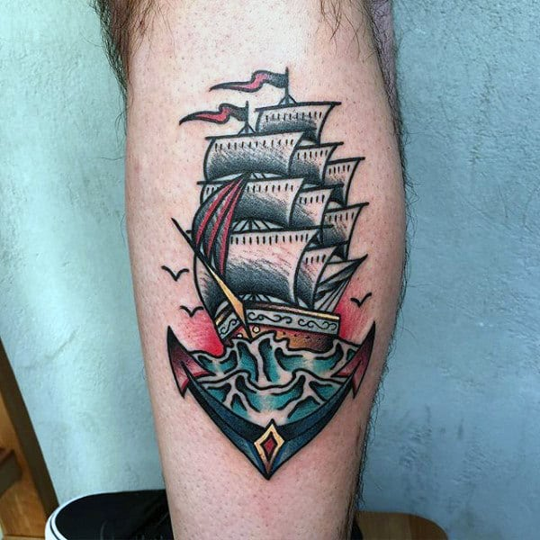 70 Traditional Anchor Tattoo Designs For Men - Vintage IdeasOld School Battleship Tattoos
