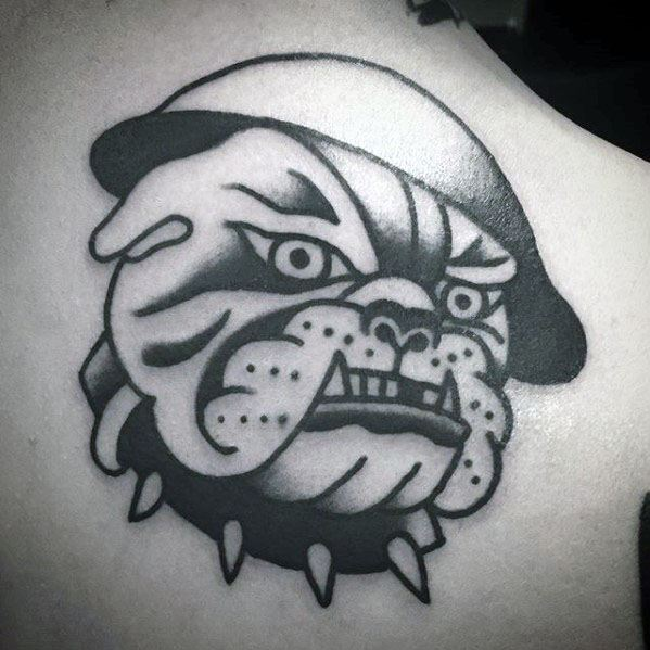 Traditional Old School Mens Bulldog Upper Back Tattoo