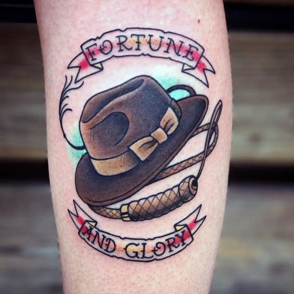 Traditional Old School Mens Cool Indiana Jones Tattoos
