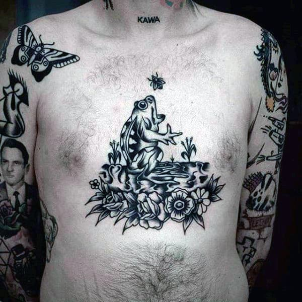 Traditional Old School Mens Singing Front Chest Tattoo Deisgns