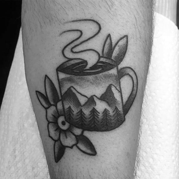 Traditional Old School Nature Landscape Coffee Cup Leg Tattoos For Men