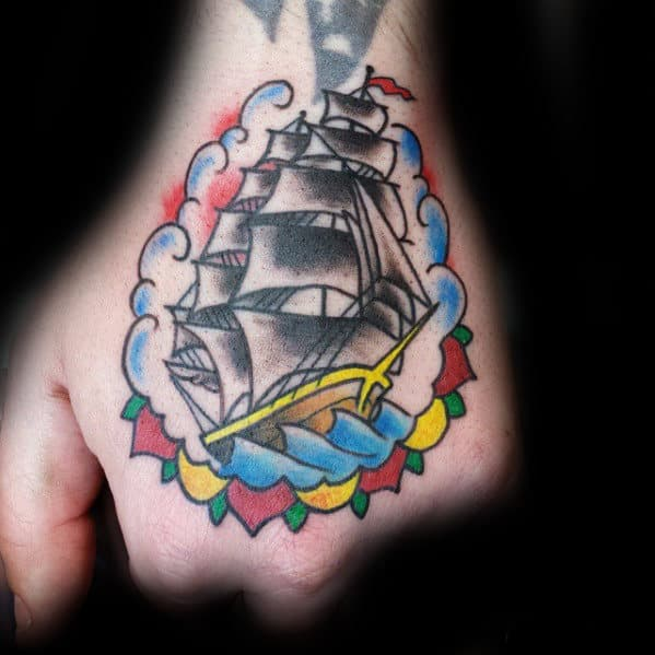Traditional Old School Sailing Ship Hand Tattoo For Men