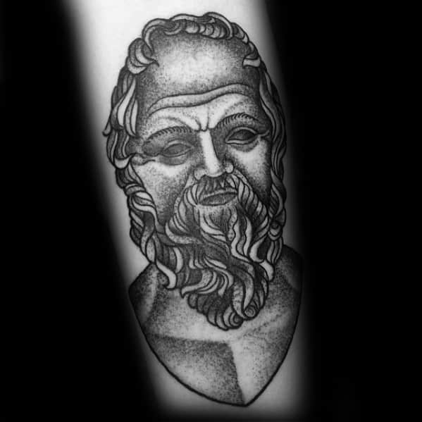 Traditional Old School Shaded Unique Mens Socrates Tattoos