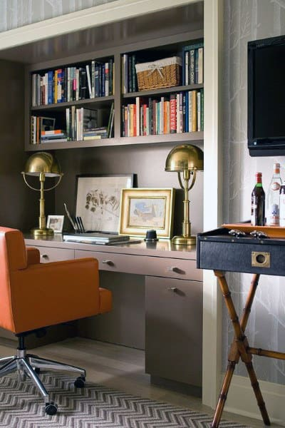 Traditional Old School Small Home Office Ideas For Guys