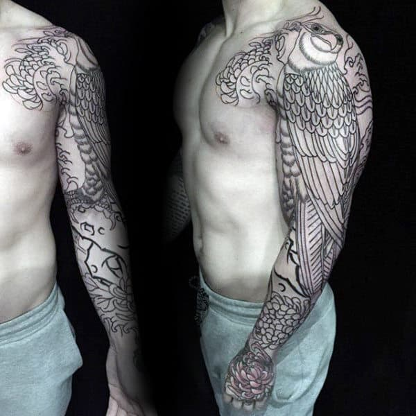 Traditional Outline Tattoo On Guy Full Sleeve Of Hawk