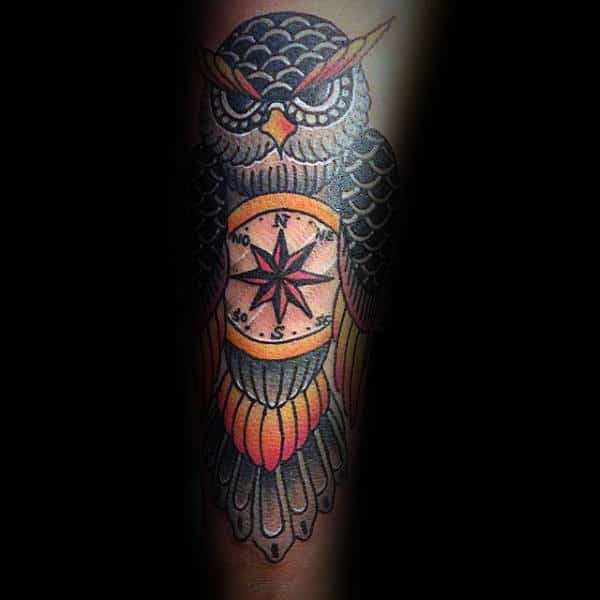 Traditional Owl With Compass Male Forearm Tattoo