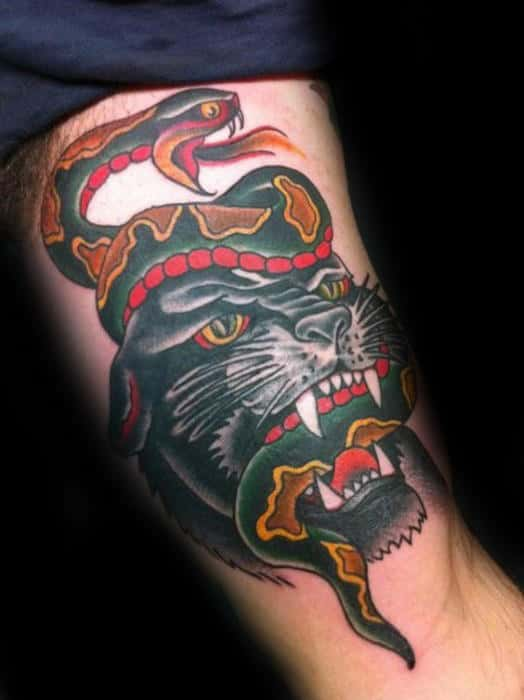 Traditional Panther With Snake In Mouth Mens Arm Tattoo