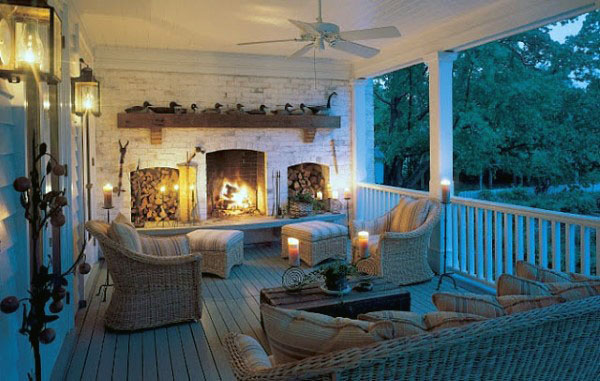Traditional Patio With Outdoor Fireplace And Chairs