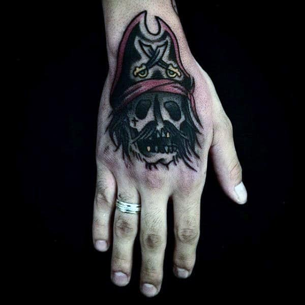 Traditional Pirate Ship Tattoo For Men On Hands
