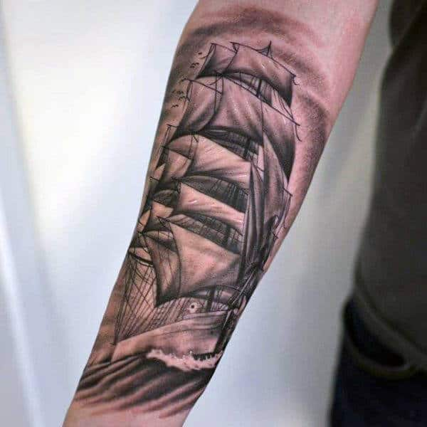 Traditional Pirate Ship Tattoo For Men