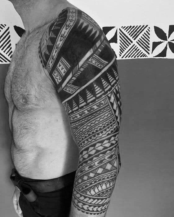 Traditional Polynesian Guys Sleeve Tribal Tattoo