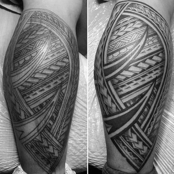 Traditional Polynesian Mens Tribal Leg Tattoos