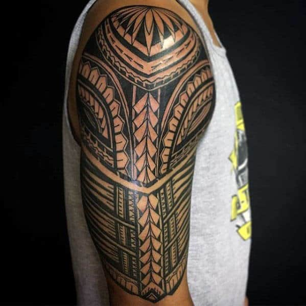 Traditional Polynesian Tribal Male Half Sleeve Tattoo