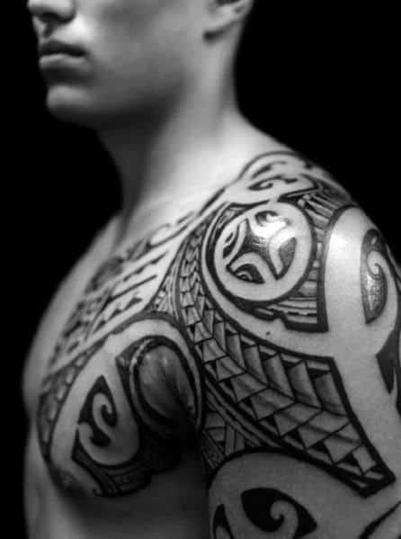 Traditional Polynesian Tribal Shoulder Tattoo Design Ideas For Men