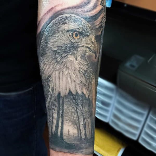 Traditional Realistic Hawk And Forest Half Sleeve For Men