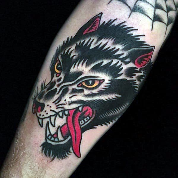 Traditional Red Tongued Hound Tattoo Mens Forearms