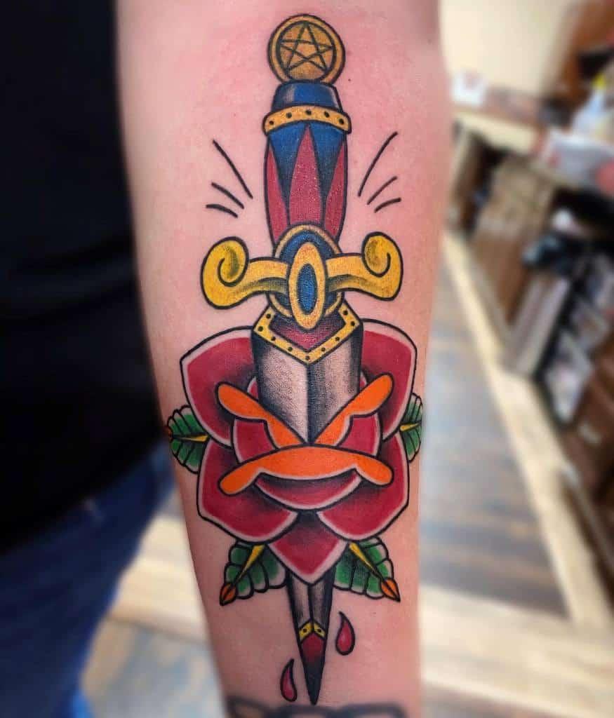 traditional rose and dagger tattoos chris_swenski_tattoo