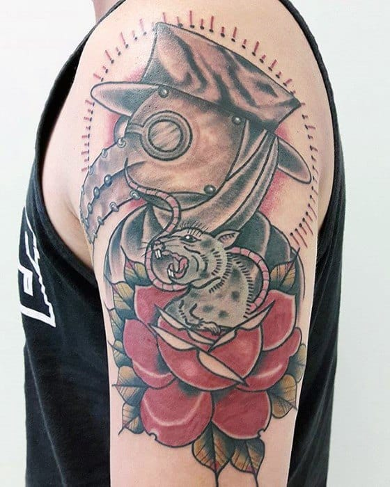 Traditional Rose Flower Arm Plague Doctor Guys Tattoos