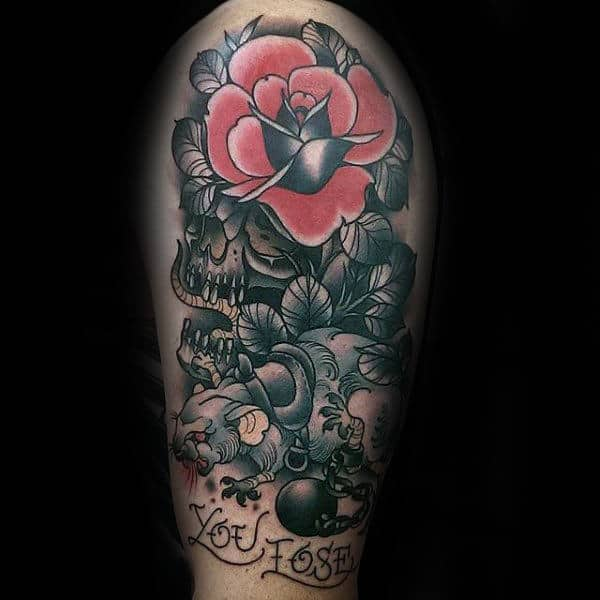 Traditional Rose Flower With Rat And Skull Male Arm Tattoos