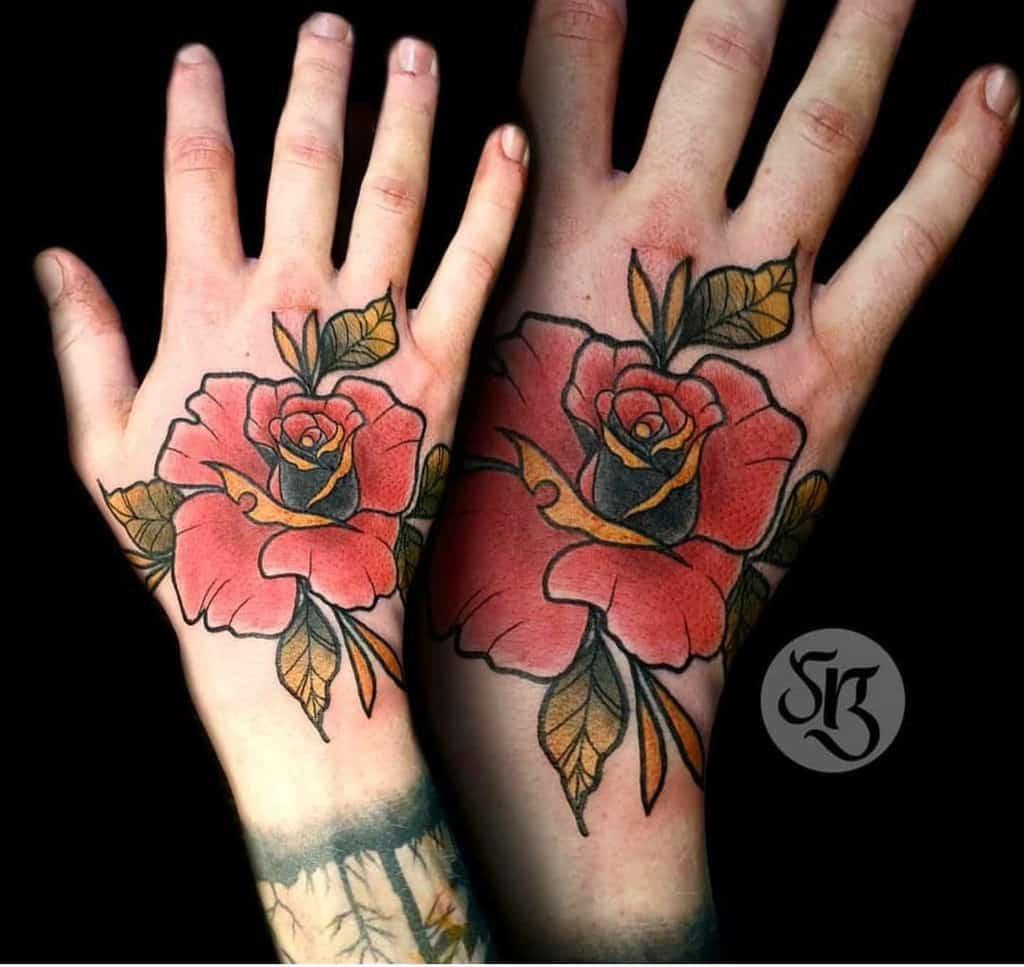 traditional rose hand tattoos sphynxtattoodublin