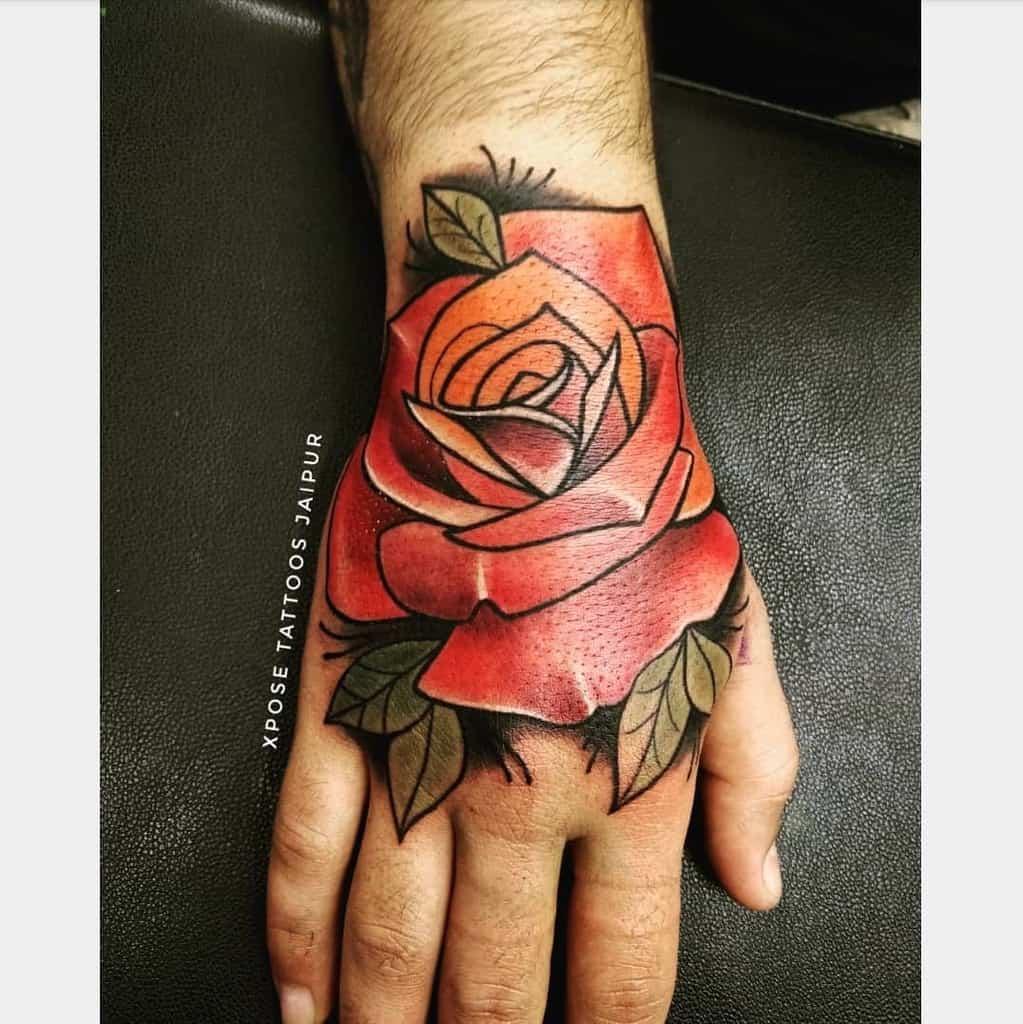 traditional rose hand tattoos xposetattoosjaipur