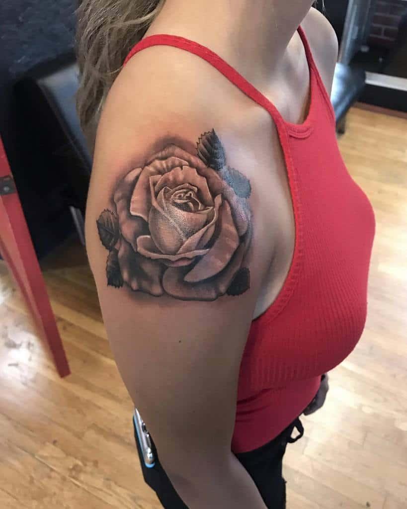 traditional rose shoulder tattoos independentink7