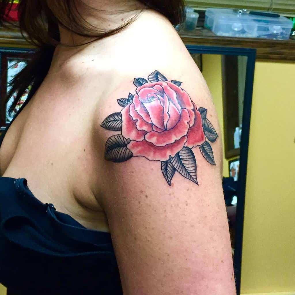 traditional rose shoulder tattoos jhutchinstattooer