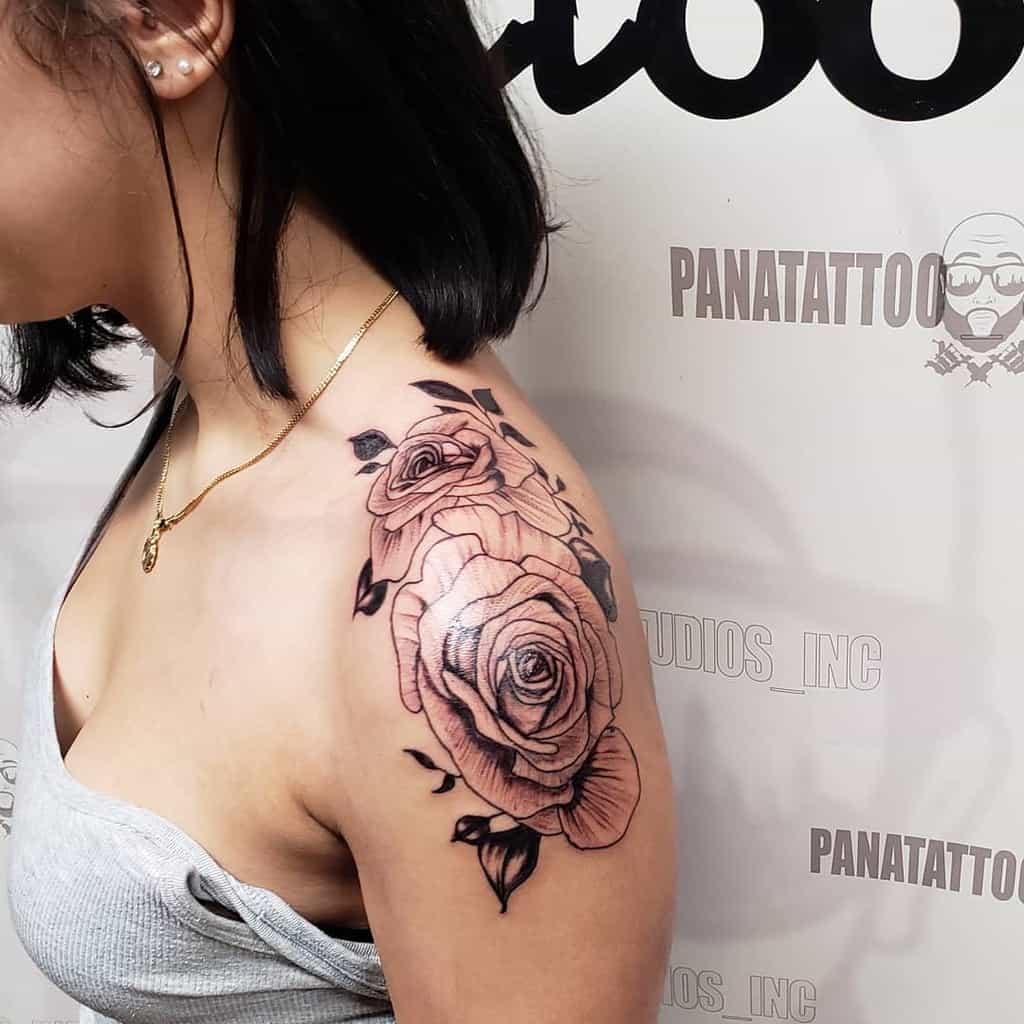 traditional rose shoulder tattoos panatattoo