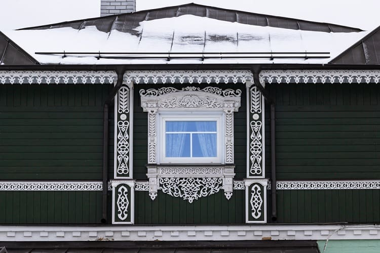 Traditional Russian Wooden Ornate Exterior Window Trim