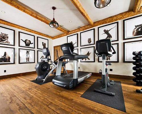 Traditional Rustic Private Home Gym With Treadmill