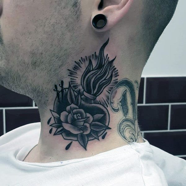 Traditional Sacred Heart Male Neck Tattoo Ideas