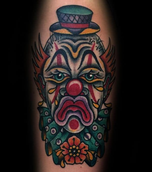 Traditional Sad Clown Mens Arm Tattoos