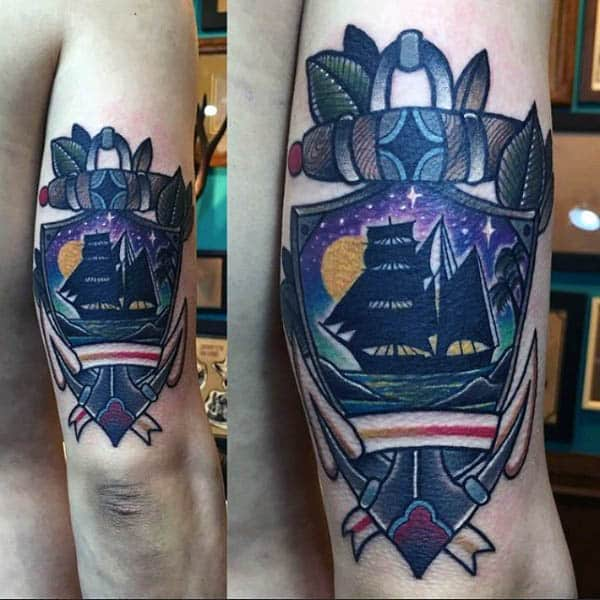 Traditional Sailing Ship Mens Tattoo On Back Of Arm In Full Color