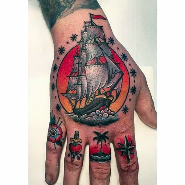 Traditional Sailing Ship With Sunset Mens Colorful Hand Tattoos