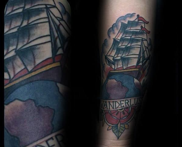 Traditional Sailing Ship With Wanderlust Banner Male Forearm Tattoo