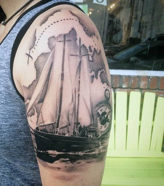 Traditional Sailing Tattoos For Guys