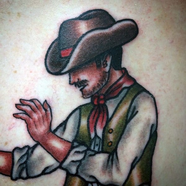 Traditional Sailor Jerry Tattoo Cowboy Shaded On Guy