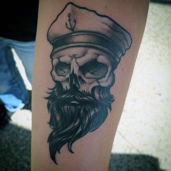 Traditional Sailor Skull Mens Inner Forearm Tattoo Ideas