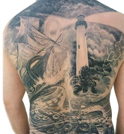 Traditional Sailors Tattoos For Men On Full Back