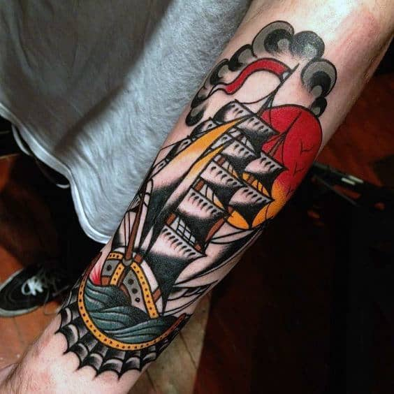 Traditional Ship Sailing Tattoo Mens Forearm