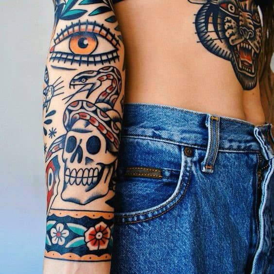Traditional Sleeve Tattoo With Eye Design For Men