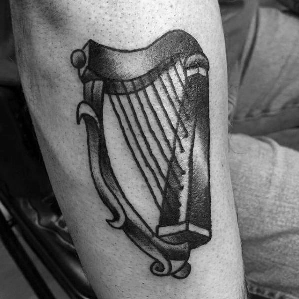 Traditional Small Forearm Harp Tattoo Design Ideas For Males