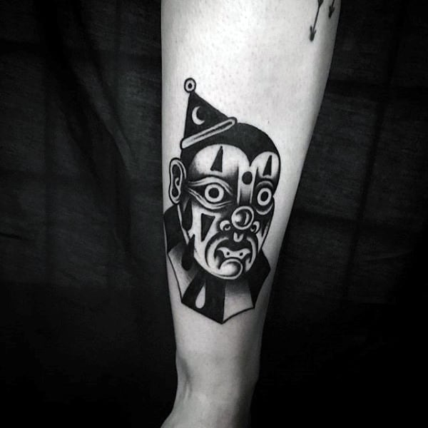 Traditional Small Guys Clown Old School Arm Tattoos