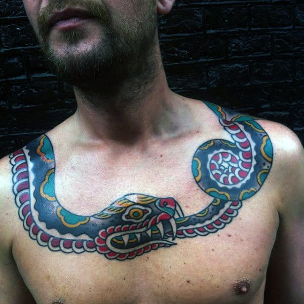 Traditional Snake Ouroboros Mens Upper Chest Tattoos