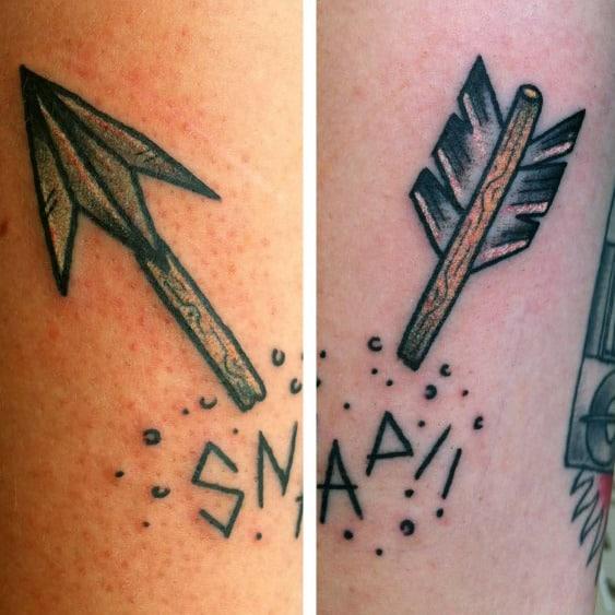 Traditional Snap Broken Arrow Guys Forearm Tattoo